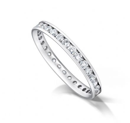Channel set court eternity/wedding ring, platinum. 2.5mm x 1.7mm. 3/4 coverage